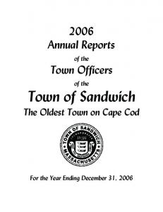 Town of Sandwich The Oldest Town on Cape Cod
