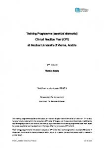 Training Programme (essential elements) Clinical Practical Year (CPY) at Medical University of Vienna, Austria
