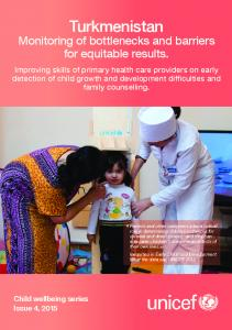 Turkmenistan Monitoring of bottlenecks and barriers for equitable results