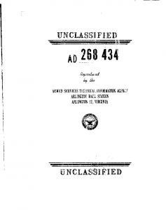 UNCLASSIFIED AD :4 ARMED SERVICES TECHNICAL INFORMATION AGENNY ARLINGTON HALL STATION ARLINGTON 12, VIRGINIA U NCLASS',]IED