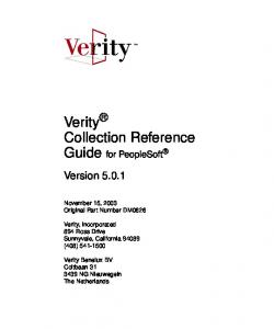 Verity Collection Reference Guide for PeopleSoft