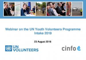 Webinar on the UN Youth Volunteers Programme Intake August 2018