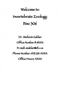 Welcome to Invertebrate Zoology Bisc 306