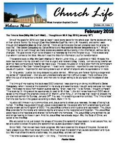 West Hampton Baptist Church. The Time is Now (Why We Can t Wait) Thoughts on MLK Day 2016 (January 18 th )