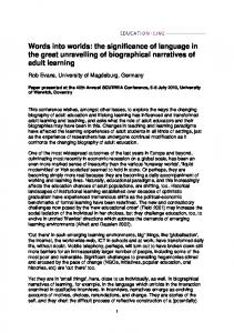 Words into worlds: the significance of language in the great unravelling of biographical narratives of adult learning