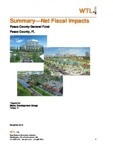 WTL+ a. Summary Net Fiscal Impacts. Pasco County General Fund Pasco County, FL. WTL +a. Prepared for: Metro Development Group Tampa, FL