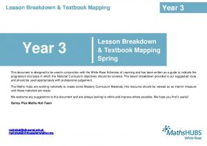 Year 3. Year 3. Lesson Breakdown & Textbook Mapping Spring. Lesson Breakdown & Textbook Mapping